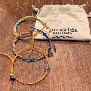 Puravida string adjustable bracelets. Set of 3.